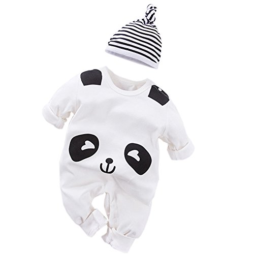 Fairy Baby Newborn Boys Girls Cotton Romper Outfit and Hat 2PCS Set,0-3M,White Panda