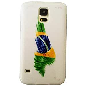 SOL Brazilian National Flag Pattern Plastic Hard Mobile Phone Case for Samsung Galaxy S5 I9600