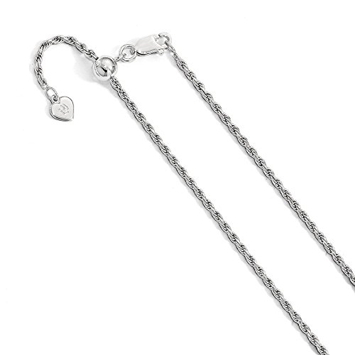 2mm Rhodium Plated Sterling Silver Adjustable Solid Diamond Cut Rope Chain Necklace, 30 ()