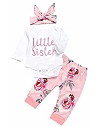 SUPEYA Baby Girls Long Sleeve Flowers Tops Rompers Pants Outfit with Headband
