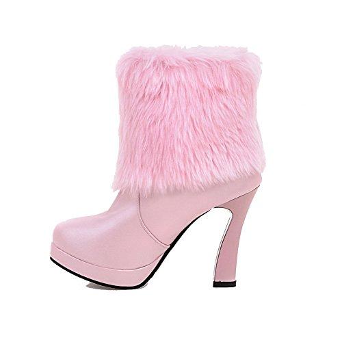 AllhqFashion Damen Rein PU Leder Hoher Absatz Rund Zehe Stiefel, Pink, 39