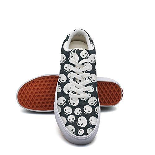 White Women's Cute sugar skull white Skateboard Shoes Lazy Shoe (Shoe Skateboard Skull White)