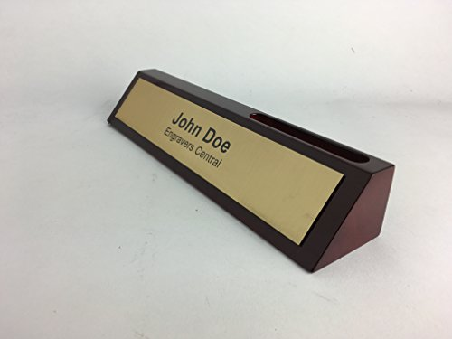 Personalized Wooden Executive Business Office Desk Name Plate - Rosewood Piano Finish With Card Holder - CUSTOMIZE - (Brushed Gold/Black 10.5