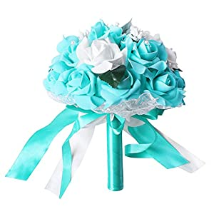 SODIAL(R) Artificial Foam flower Bouquet Foam Roses Wedding Bouquet Bridal Bouquet Lace Decoration Natural Pearls Wedding Flowers White & Teal blue 30