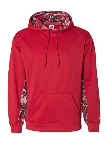 1464 Badger Digital Color Block Performance Hoodie - Red/ Red Digital - (Badger Hooded Sweatshirt)