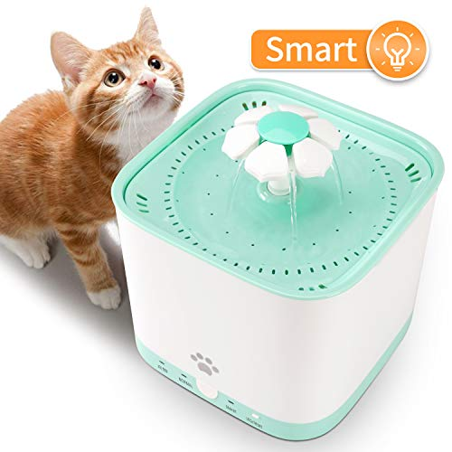 Pet Fountain Cat Water Dispenser – DESINO Smart Automatic Super Quiet Flower Drinking Water Fountain, 2L Electric Healthy and Hygienic Water Bowl with 1 Replacement Filter for Dogs, Cats, Birds