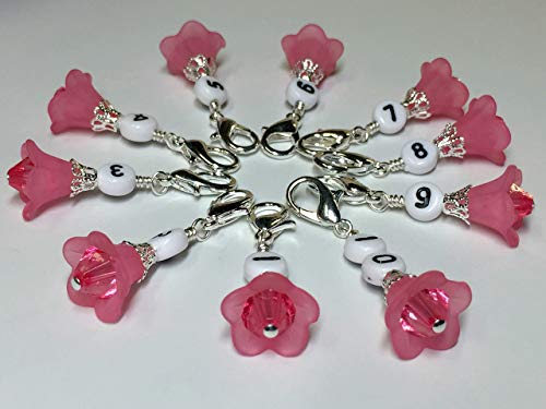 Flowers Number Stitch Markers for Row Counting