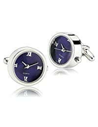 MoAndy Men's Cufflinks Stainless Steel Functional Dial Clock Blue Cufflinks For Father