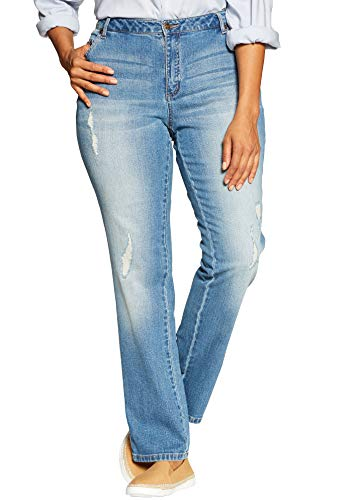 Woman Within Women's Plus Size Straight Leg Stretch Jean - Distressed, 16 W