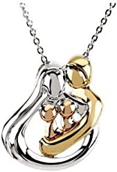 """18K Yellow Gold-Plated and 14K Rose Gold-Plated Sterling Silver 2 Child Family 18"""" Pendant Necklace"""