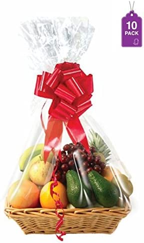 Clear Basket Bags 10 Cellophane Baskets product image