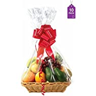 """Clear Basket Bags-10 Pack, 1.5 Mil Thick Large Cellophane Wrap for Baskets and Gifts 24""""x 30"""""""