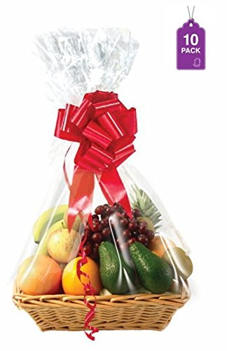 Clear Basket Bags, 10 Pack Large Clear Cellophane Wrap for Baskets & Gifts 24x30 1.5 Mil Thick (10)