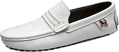 Abby 0011 Menns Siste Mote Komfort Stilige Uformelle Loafers Slip-on Arbeid Kjøring Skinnsko Hvite