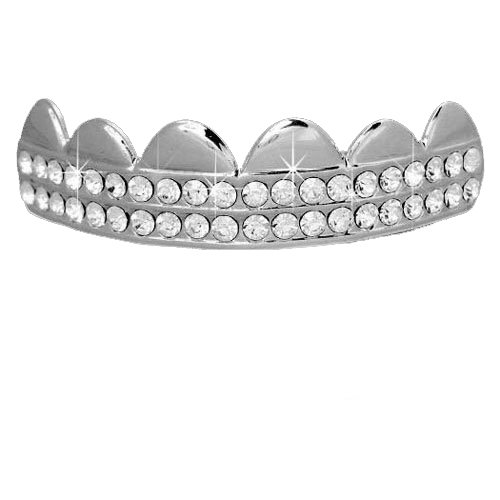 Hip Hop Top Silve Tone 2 Row Clear Cz Bling Removeable Mouth Grillz by L & L Nation