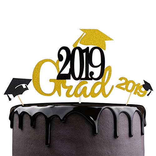 Graduation Themes For High School (LINGPAR 2019 Grad Cake Toppers with Glitter Cap Embellishment Celebrate Grad Party Décor - Master Ph.D Graduation - High School College Graduate Themes Party Photo Props)