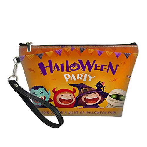 girls makeup bagcosmetic zipper bagHalloween Party Group of kids in Halloween costume with big signboard 2 8.5
