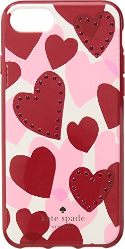 Kate Spade New York Women's Jeweled Heart Phone Case for iPhone 7/iPhone 8 Red Multi One - Bag Heart Jeweled
