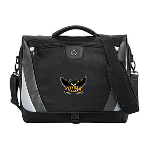 Kennesaw Slope Black/Grey Compu Messenger Bag 'Official Kennesaw State Owls Logo' by CollegeFanGear