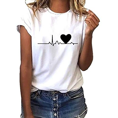 Godathe Top Women Girls Plus Size Print Tees Shirt Short Sleeve T Shirt Blouse Tops (White, L)