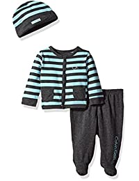 Calvin Klein Baby Boys' Footed Pant Set, Aqua/Grey, 6-9 Months