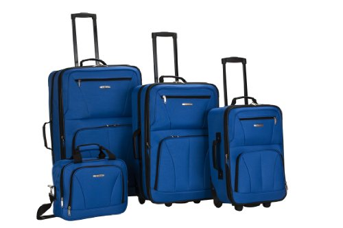 Rockland Luggage 4 Piece Set, Blue, One Size (Piece Luggage 4 Set)