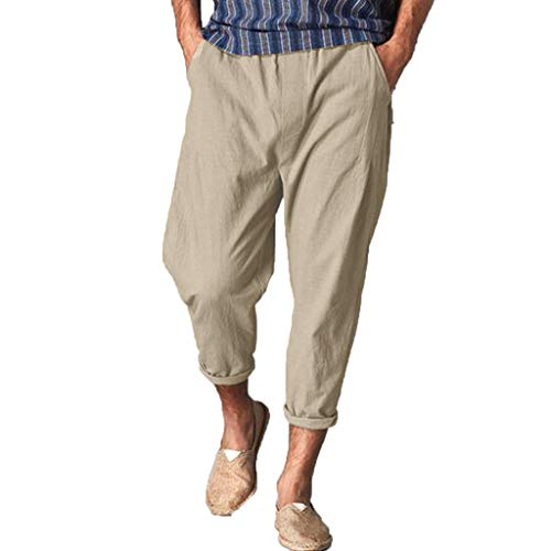 BingYELH Men Casual Beach Trousers Linen Jean Jacket Summer Pants Drawstring Pant with Back Elastic Waistband Jogger Pants Khaki