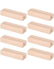 8 Pieces Wood Place Card Holders Wood Table Number Holder Stands Photo Picture Card Holders for Wedding Party Menu Table Decorations, 3.15 Inches Length
