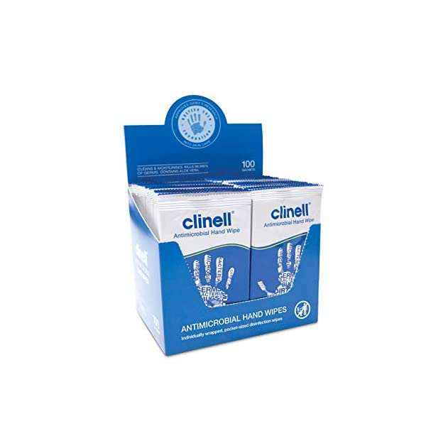 Clinell Antibacterial Hand Wipes 100 Pack
