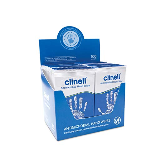 Clinell Z6CAHW100 Individual Antibacterial Hand Wipes, Pack of 100