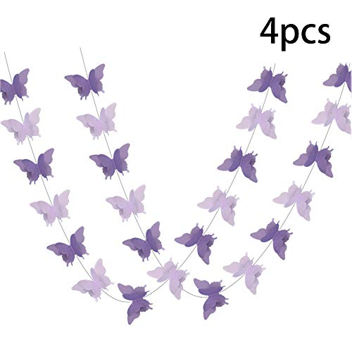 ADLKGG Butterfly Hanging Garland 3D Paper Bunting Banner Party Decorations Wedding Baby Shower Home Decor Purple 4 Pack, 110 -