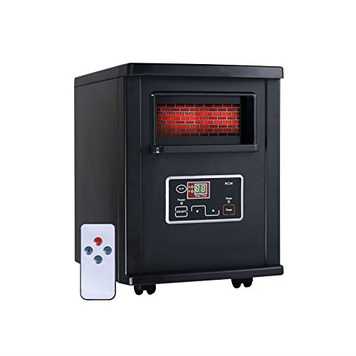 1800 Sq. Ft Electric Portable Infrared Quartz Space Heater Remote Black Infrared Heaters na