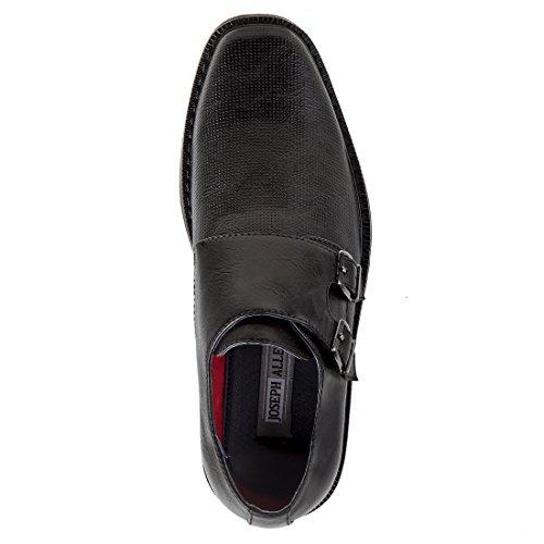 Joseph Allen Boys Dressy Textured Shoe With Double Buckle (Little Kid, Big Kid) Black
