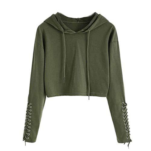 Logo Military Sweatshirt (HGWXX7 Women Hoodie Sweatshirt Cotton Solid Sports Jumper Blouse Pullover Tops(L,Army Green))