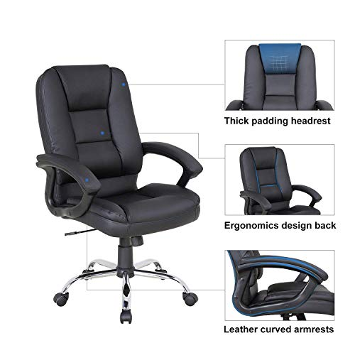LCH PU Leather Office Chair Swivel Executive Chair with Tilt Function and Thick Seat, Ergonomic Computer Chair Headrest and Lumbar Support (Black) by LCH (Image #2)