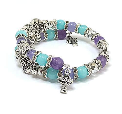 Religious Bracelet Aquamarine Purple Jade Bangle Crucifix Celtic Cross Jewelry
