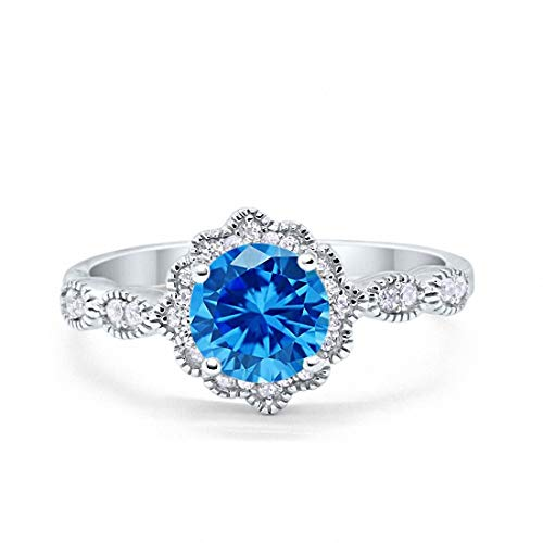 Blue Apple Co. Halo Floral Art Deco Wedding Engagement Ring Simulated Topaz Round Cubic Zirconia 925 Sterling Silver, Size-7