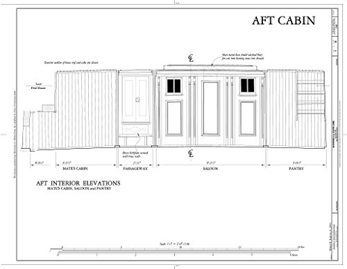 - Historic Pictoric Blueprint Diagram AFT Cabin: AFT Interior Elevations (Mate's Cabin, Saloon, Pantry) - Schooner C.A. Thayer, Hyde Street Pier, San Francisco, San Francisco County, CA 14in x 11in