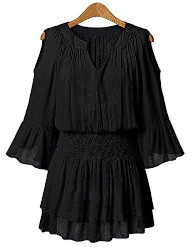 Leadingstar Women's Plus Size Loose Off Shoulder V-neck Chiffon Double Hem Short Dress Black 5XL (Dresses In 5x For Women)