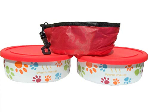 2 Dog/ Cat Bowls with Lid plus a Free Pet Travel Bowl. This Pet Dish Set is FDA approved porcelain material+ airtight storage lid plus collapsible Pet Travel Bowl for dog cat food or water by Quality Line (Image #2)'