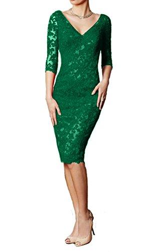 Kurz Promkleider Spitze Damen Rock Etuikleider Grün Ausschnitt Abendkleider Knielang Partykleider Glamout Charmant V zTqxdEFvvw