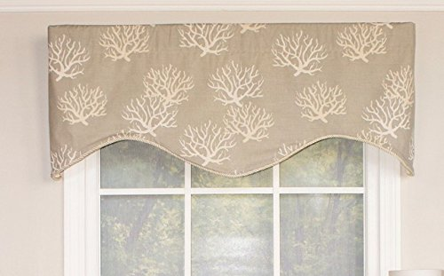 RLF HOME 12443-GY Sea Coral Cornice Window Dressings Valance, Gray