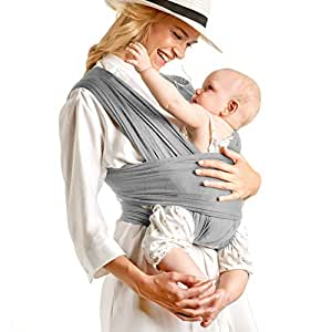 Breathable Soft and Stretchy Baby Carrier, Ergonomic, Safe & Secure for Newborns, Babies & Infants, No Back Pain, Good for Breastfeeding (Light Gray)