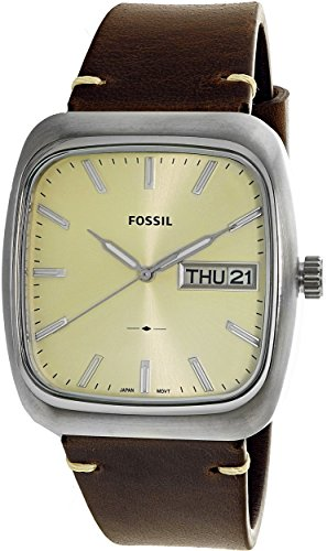 Fossil Men's FS5329 Rutherford Three-Hand Day-Date Brown Leather (3 Hand Day Date Watch)