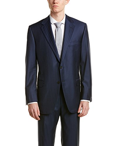 Hickey Freeman Mens Millburn Ii 2Pc Wool Suit with Flat Front Pant, 38R, - Hickey Mens Suits Freeman