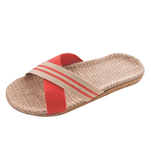 Shoes Women, Women's Fashion Anti-Slip Linen Home Indoor Open Toe Flat Shoes Beach Slippers Plus Size]()