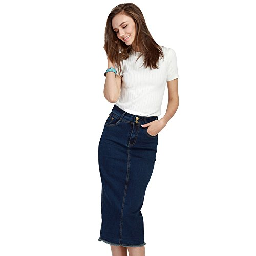 Basic 5 Pocket Denim Short (Kawayee Women's Basic Five-Pocket Pencil Denim Skirt Plus)