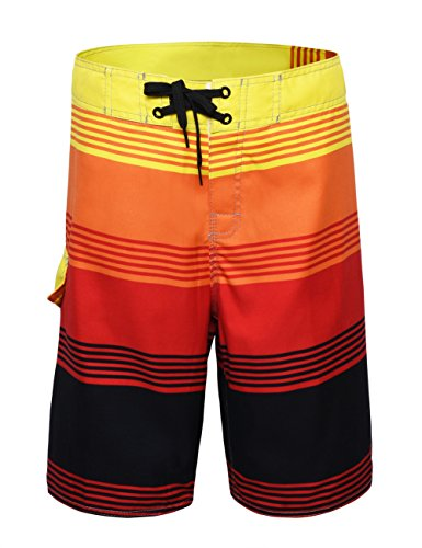 Nonwe Men's Striped Quick Dry Beachwear Surf Shorts ()