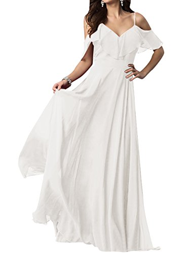 Shoulder Spaghetti Bridesmaid Chiffon Ruffles Neck Dresses Ivory Prom ASBridal Dress V Long Iw7xq7C0