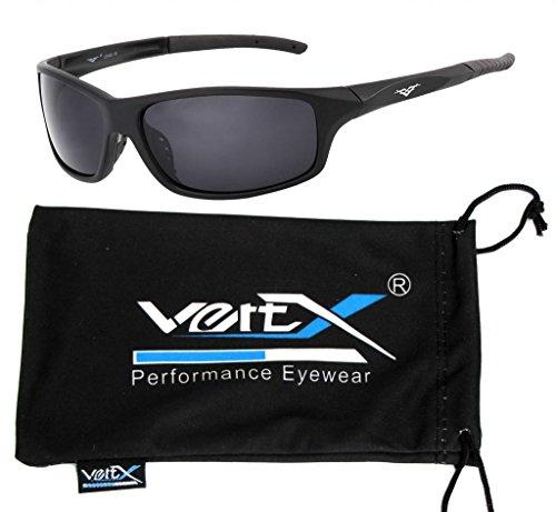 VertX Men's Polarized Sunglasses Sport Cycling Running Outdoor w/ free Microfiber Pouch - Matte Blk Smoke Lens